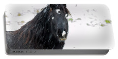 Black Horse Staring In The Snow Portable Battery Charger