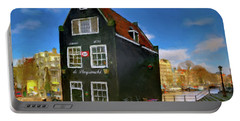 Black House In Jodenbreestraat #1. Amsterdam Portable Battery Charger