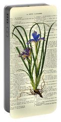 Black Iris Antique Illustration On Dictionary Page Portable Battery Charger
