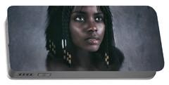 Black Jesus Portrait V Portable Battery Charger