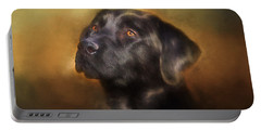 Black Lab Portrait 2 Portable Battery Charger