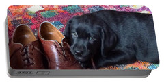 Black Lab Puppy Portable Battery Charger by Robin Regan