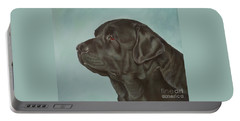 Black Labrador Dog Profile Painting Portable Battery Charger