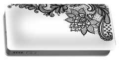 Portable Battery Charger featuring the digital art Black Lace Print On White by Marianna Mills
