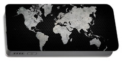 Portable Battery Charger featuring the digital art Black Metal Industrial World Map by Douglas Pittman
