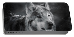 Black N White Wolf Portable Battery Charger