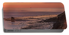 Black Nab Saltwick Bay Portable Battery Charger by David  Hollingworth
