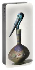 Black Necked Stork Stuffed Inside The Gilded Bottle Portable Battery Charger by Keshava Shukla