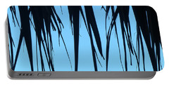 Black Palms On Blue Sky Portable Battery Charger