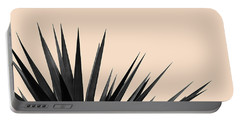 Black Palms On Pale Pink Portable Battery Charger