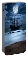 Black Pearl Pirate Ship Landing Under Full Moon Portable Battery Charger