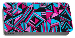 Black Pink Blue Geometric Design Portable Battery Charger by Gabriella Weninger - David