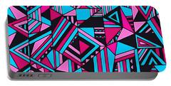 Black Pink Blue Geometric Design Portable Battery Charger
