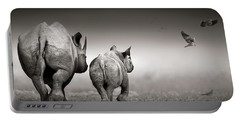 Black Rhino Cow With Calf  Portable Battery Charger