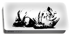 Portable Battery Charger featuring the ceramic art Black Rhino by Elizabeth Lock