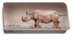 Black Rhinoceros Baby Running Portable Battery Charger