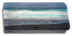 Black Sand Beach Portable Battery Charger by Delphimages Photo Creations