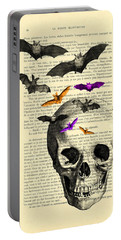 Black Skull And Bats On A Dictionary Page Portable Battery Charger