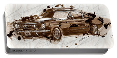 Black Stallion 1965 Ford Mustang Fastback #2 Portable Battery Charger by Gary Bodnar