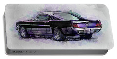 Black Stallion 1965 Ford Mustang Fastback Portable Battery Charger by Gary Bodnar