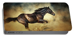 Black Stallion Horse Galloping Like A Devil Portable Battery Charger