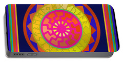 Black Sun Mandala Rune Calendar Portable Battery Charger
