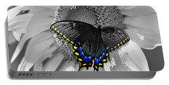 Black Swallowtail And Sunflower Color Splash Portable Battery Charger