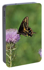 Portable Battery Charger featuring the photograph Black Swallowtail Butterfly by Sandy Keeton