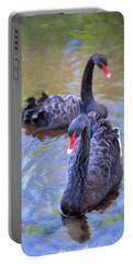 Portable Battery Charger featuring the photograph Black Swans by Susan Rissi Tregoning