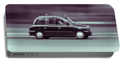 Black Taxi Bw Blur Portable Battery Charger