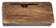 Black Vulture In Flight Portable Battery Charger by Chris Flees