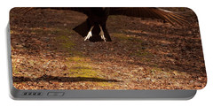 Black Vulture Landing Portable Battery Charger by Chris Flees
