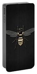 Black Wasp With Gold Accents On Black  Portable Battery Charger