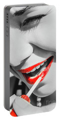 Black White And Red Lipgloss Pinup Portable Battery Charger