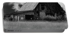 Black White Barn Portable Battery Charger by Elijah Knight