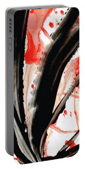 Portable Battery Charger featuring the painting Black White Red Art - Tango 2 - Sharon Cummings by Sharon Cummings
