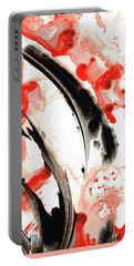 Portable Battery Charger featuring the painting Black White Red Art - Tango 3 - Sharon Cummings by Sharon Cummings