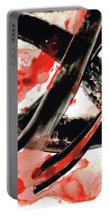 Portable Battery Charger featuring the painting Black White Red Art - Tango - Sharon Cummings by Sharon Cummings