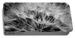 Black Widow Dandelion Portable Battery Charger by Iris Greenwell
