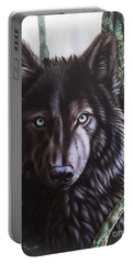 Black Wolf Portable Battery Charger by Sandi Baker