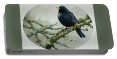 Blackbird Painting Portable Battery Charger by Alison Fennell