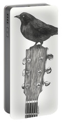 Portable Battery Charger featuring the drawing Blackbird Solo  by Meagan  Visser