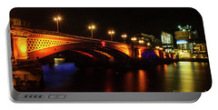 Blackfriars Bridge Illuminated In Orange Portable Battery Charger