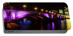 Blackfriars Bridge Illuminated In Purple Portable Battery Charger