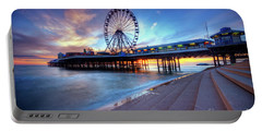 Portable Battery Charger featuring the photograph Blackpool Pier Sunset by Yhun Suarez