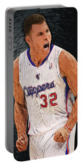 Portable Battery Charger featuring the digital art Blake Griffin by Taylan Apukovska