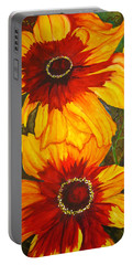 Portable Battery Charger featuring the painting Blanket Flower by Lil Taylor
