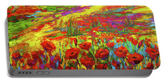 Portable Battery Charger featuring the painting Blanket Of Joy Modern Impressionistic Oil Painting Of Poppy Flower Field by Patricia Awapara