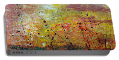 Portable Battery Charger featuring the painting Blazing Prairie by Jacqueline Athmann