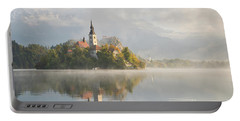 Bled Lake On A Beautiful Foggy Morning Portable Battery Charger